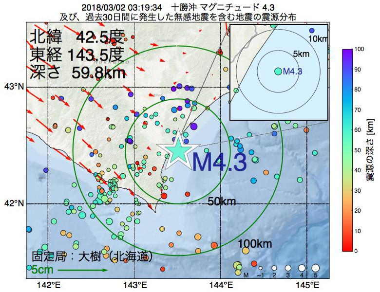 地震震源マップ:2018年03月02日 03時19分 十勝沖でM4.3の地震