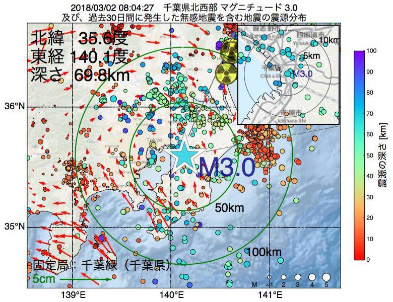 地震震源マップ:2018年03月02日 08時04分 千葉県北西部でM3.0の地震