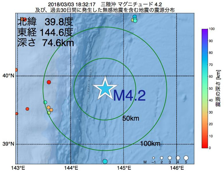 地震震源マップ:2018年03月03日 18時32分 三陸沖でM4.2の地震