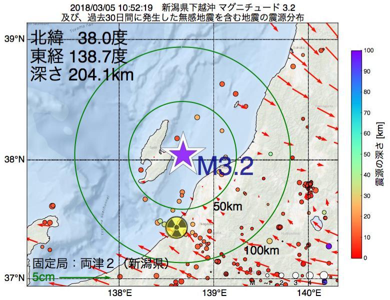 地震震源マップ:2018年03月05日 10時52分 新潟県下越沖でM3.2の地震