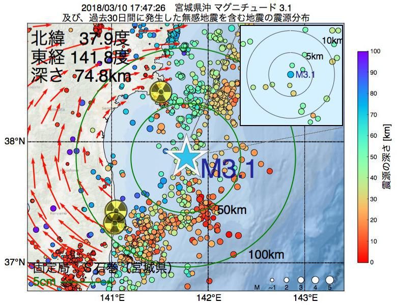 地震震源マップ:2018年03月10日 17時47分 宮城県沖でM3.1の地震