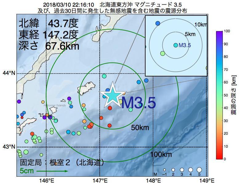 地震震源マップ:2018年03月10日 22時16分 北海道東方沖でM3.5の地震