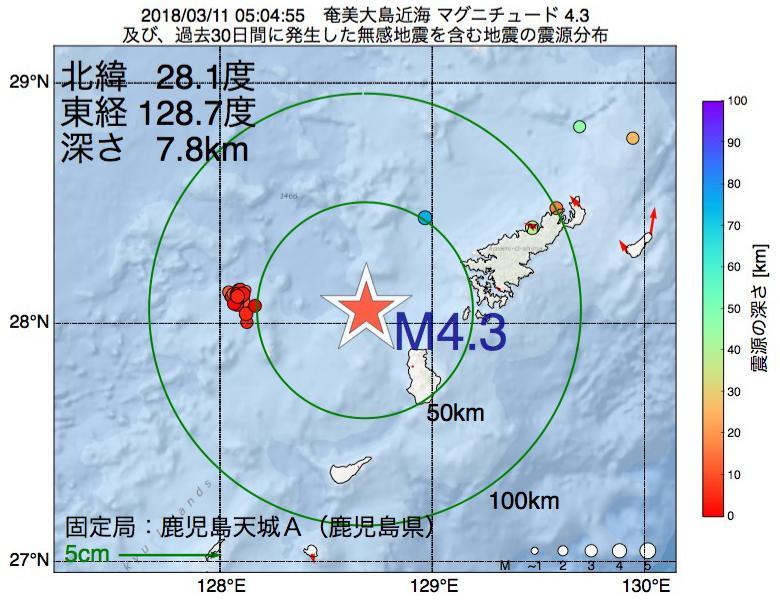 地震震源マップ:2018年03月11日 05時04分 奄美大島近海でM4.3の地震