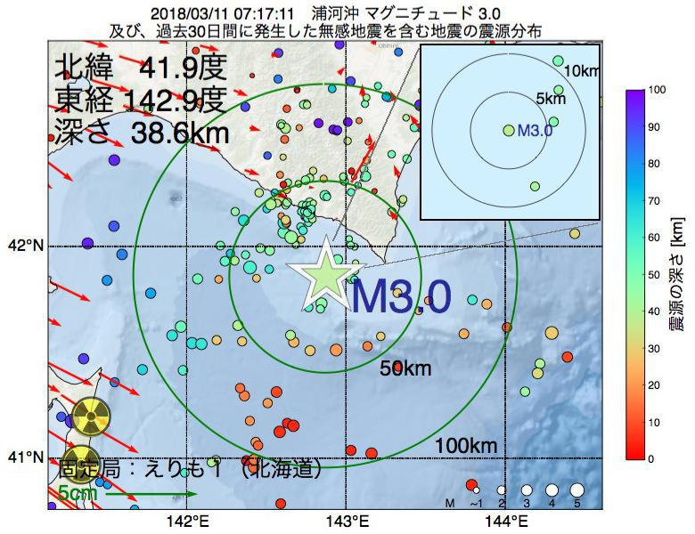 地震震源マップ:2018年03月11日 07時17分 浦河沖でM3.0の地震