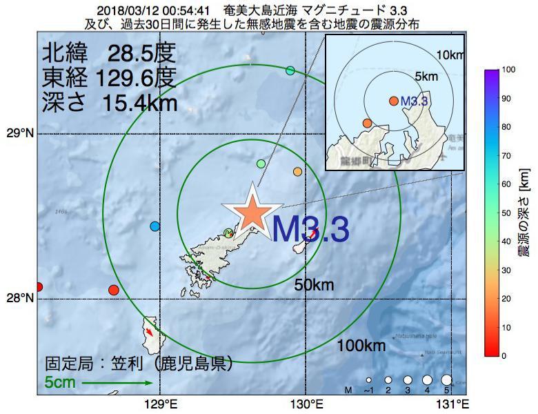 地震震源マップ:2018年03月12日 00時54分 奄美大島近海でM3.3の地震