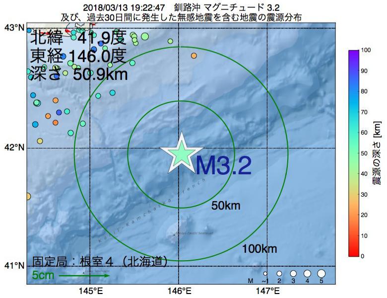 地震震源マップ:2018年03月13日 19時22分 釧路沖でM3.2の地震