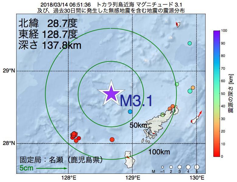 地震震源マップ:2018年03月14日 06時51分 トカラ列島近海でM3.1の地震