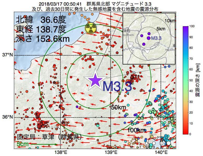 地震震源マップ:2018年03月17日 00時50分 群馬県北部でM3.3の地震