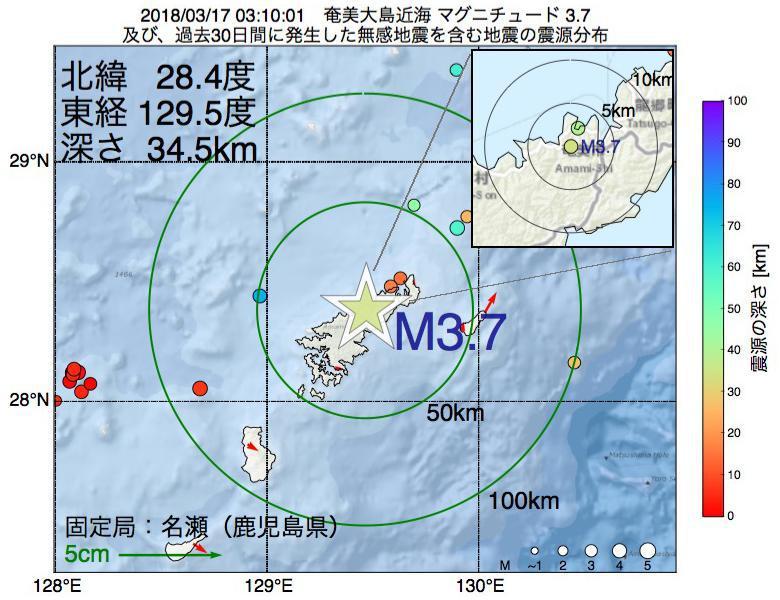 地震震源マップ:2018年03月17日 03時10分 奄美大島近海でM3.7の地震