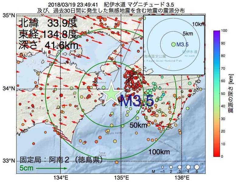 地震震源マップ:2018年03月19日 23時49分 紀伊水道でM3.5の地震