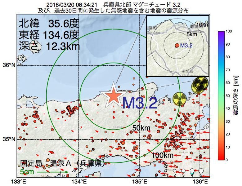 地震震源マップ:2018年03月20日 08時34分 兵庫県北部でM3.2の地震