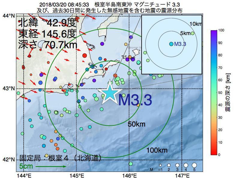 地震震源マップ:2018年03月20日 08時45分 根室半島南東沖でM3.3の地震