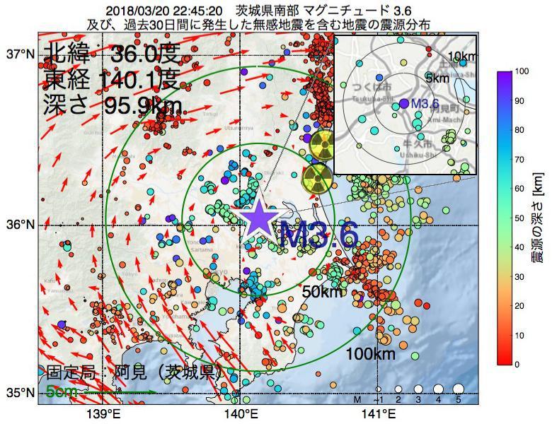 地震震源マップ:2018年03月20日 22時45分 茨城県南部でM3.6の地震