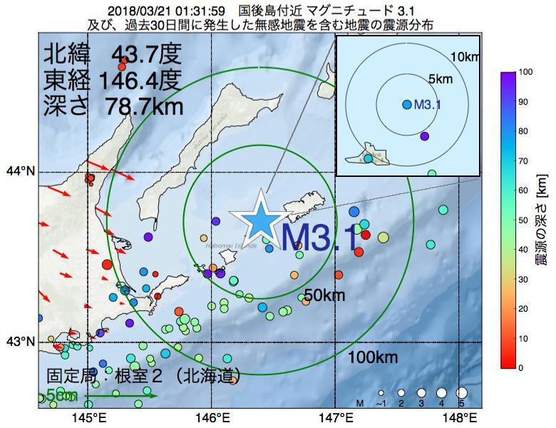 地震震源マップ:2018年03月21日 01時31分 国後島付近でM3.1の地震