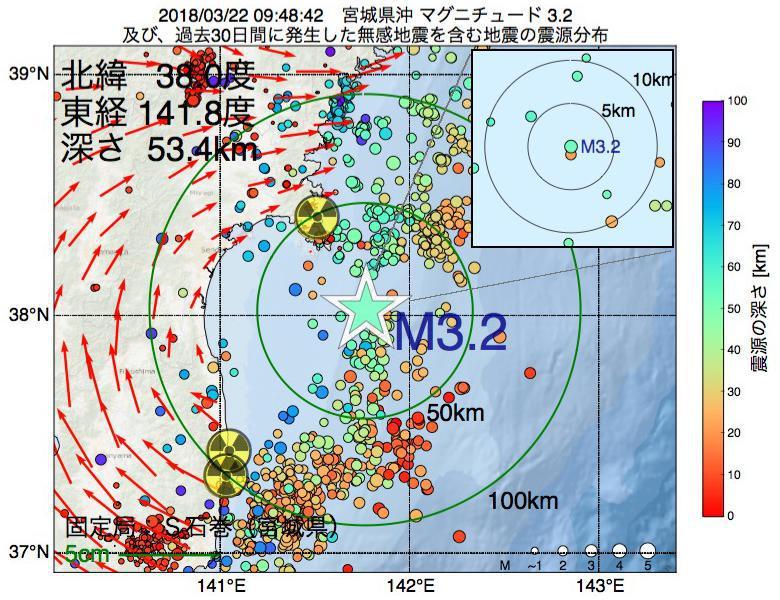地震震源マップ:2018年03月22日 09時48分 宮城県沖でM3.2の地震