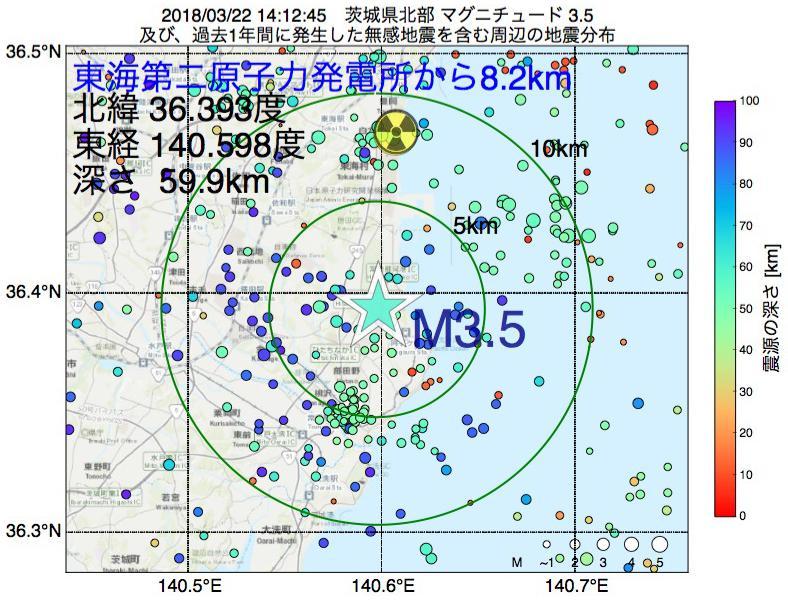 地震震源マップ:東海第二原子力発電所から8.2km地点でM3.5の地震が発生しました