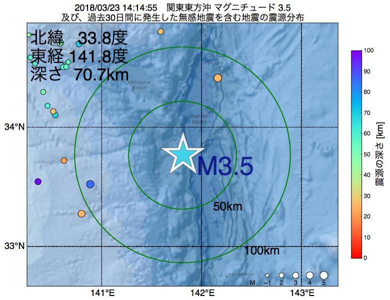 地震震源マップ:2018年03月23日 14時14分 関東東方沖でM3.5の地震