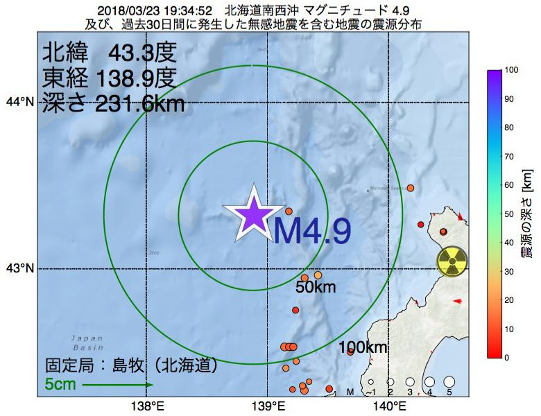 地震震源マップ:2018年03月23日 19時34分 北海道南西沖でM4.9の地震