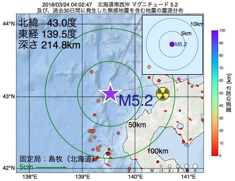 地震震源マップ:2018年03月24日 04時02分 北海道南西沖でM5.2の地震