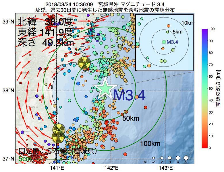 地震震源マップ:2018年03月24日 10時36分 宮城県沖でM3.4の地震