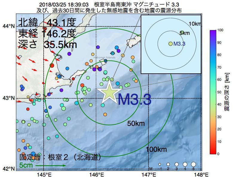 地震震源マップ:2018年03月25日 18時39分 根室半島南東沖でM3.3の地震