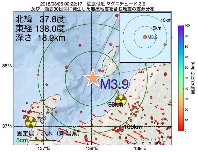 地震震源マップ:2018年03月26日 00時22分 佐渡付近でM3.9の地震