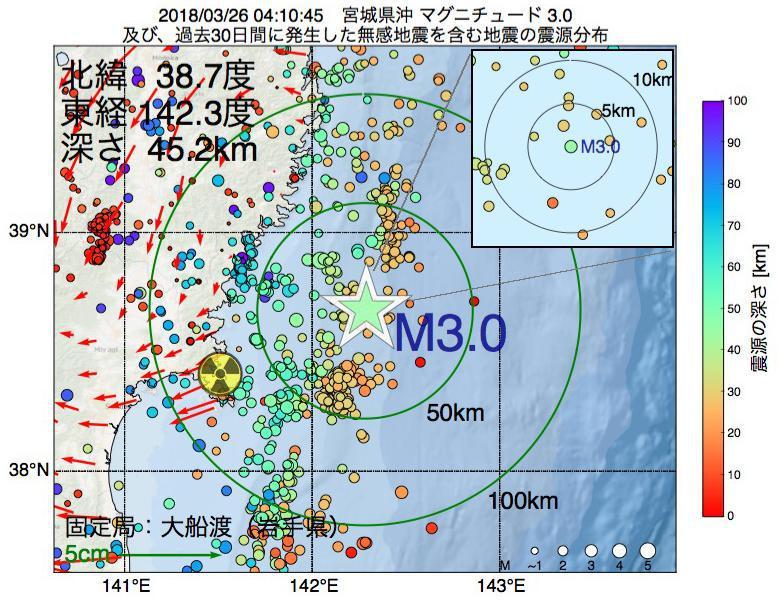 地震震源マップ:2018年03月26日 04時10分 宮城県沖でM3.0の地震