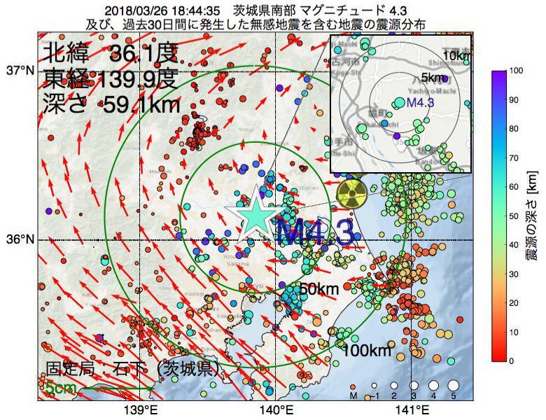 地震震源マップ:2018年03月26日 18時44分 茨城県南部でM4.3の地震