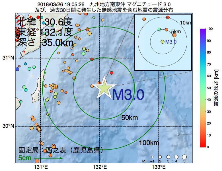 地震震源マップ:2018年03月26日 19時05分 九州地方南東沖でM3.0の地震