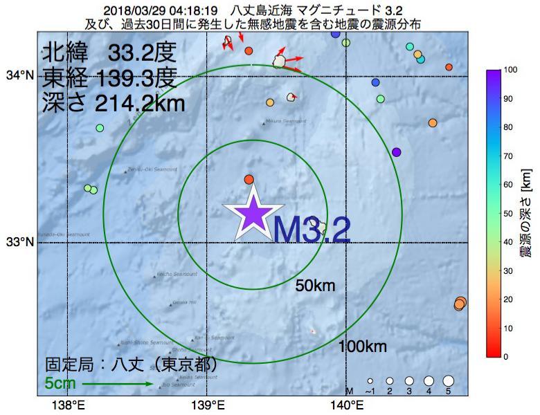 地震震源マップ:2018年03月29日 04時18分 八丈島近海でM3.2の地震