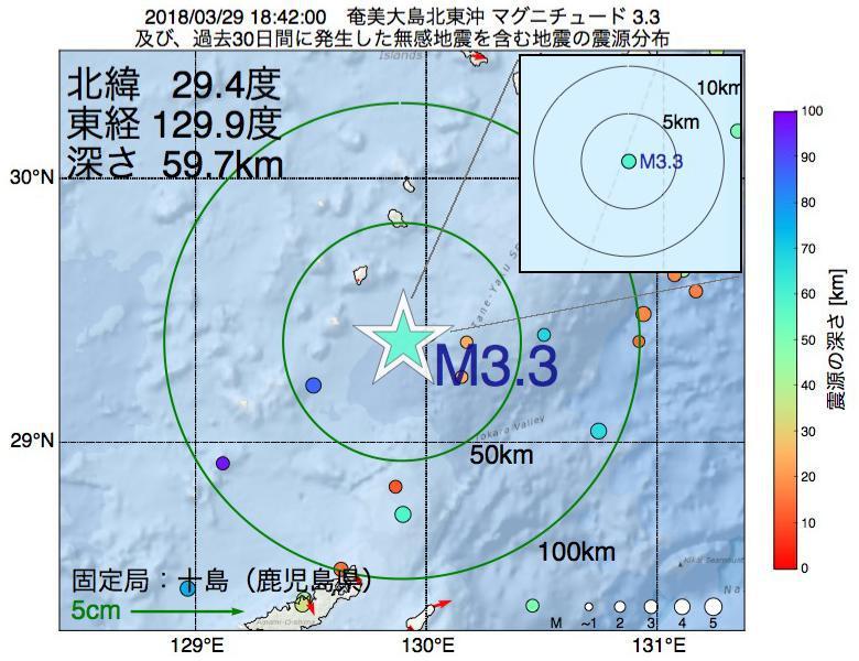 地震震源マップ:2018年03月29日 18時42分 奄美大島北東沖でM3.3の地震