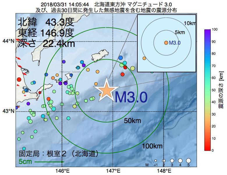 地震震源マップ:2018年03月31日 14時05分 北海道東方沖でM3.0の地震