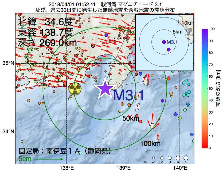 地震震源マップ:2018年04月01日 01時52分 駿河湾でM3.1の地震