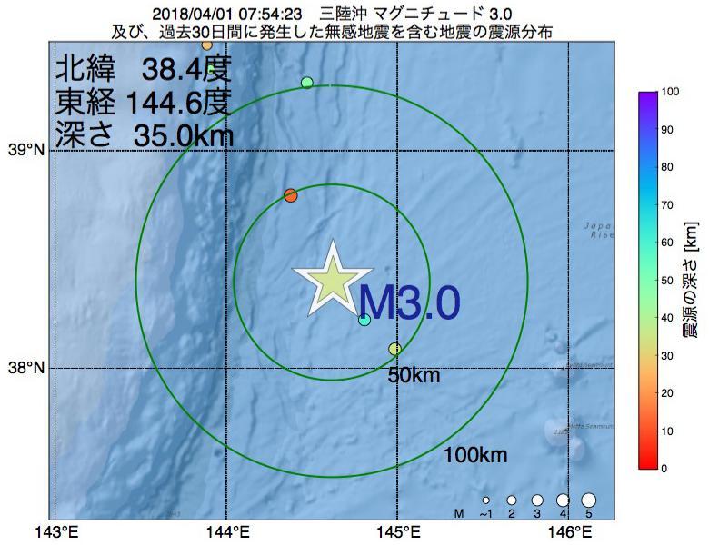 地震震源マップ:2018年04月01日 07時54分 三陸沖でM3.0の地震