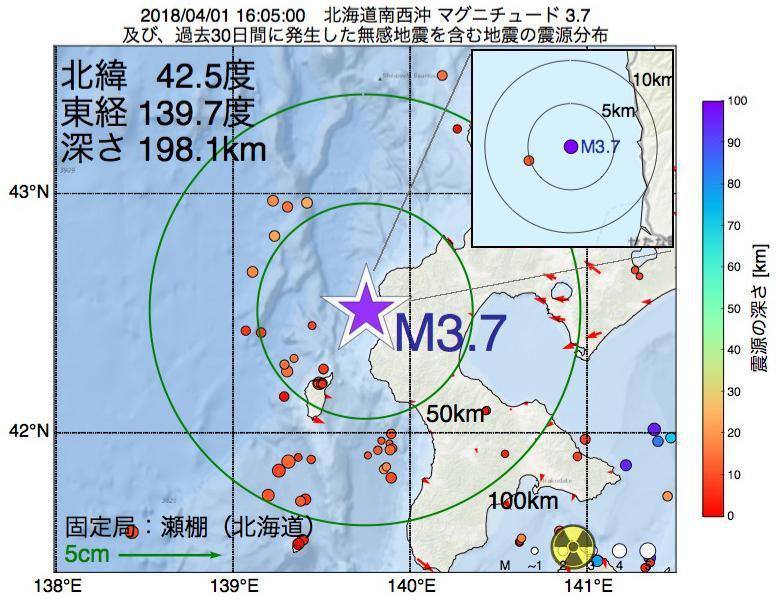地震震源マップ:2018年04月01日 16時05分 北海道南西沖でM3.7の地震