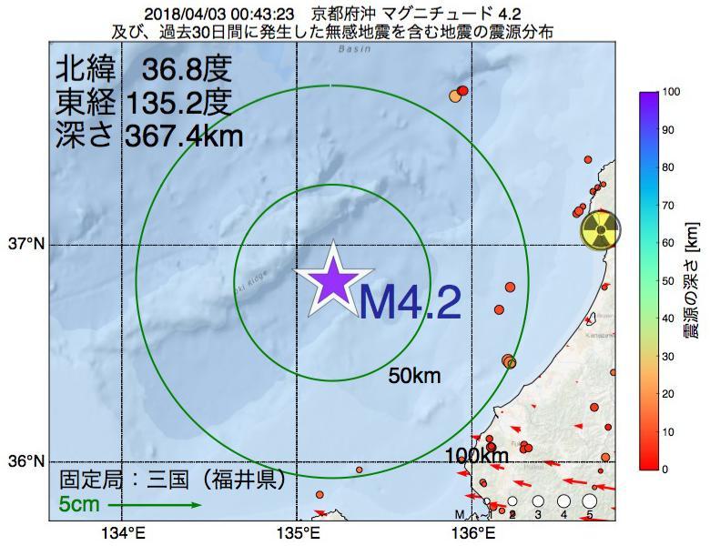 地震震源マップ:2018年04月03日 00時43分 京都府沖でM4.2の地震