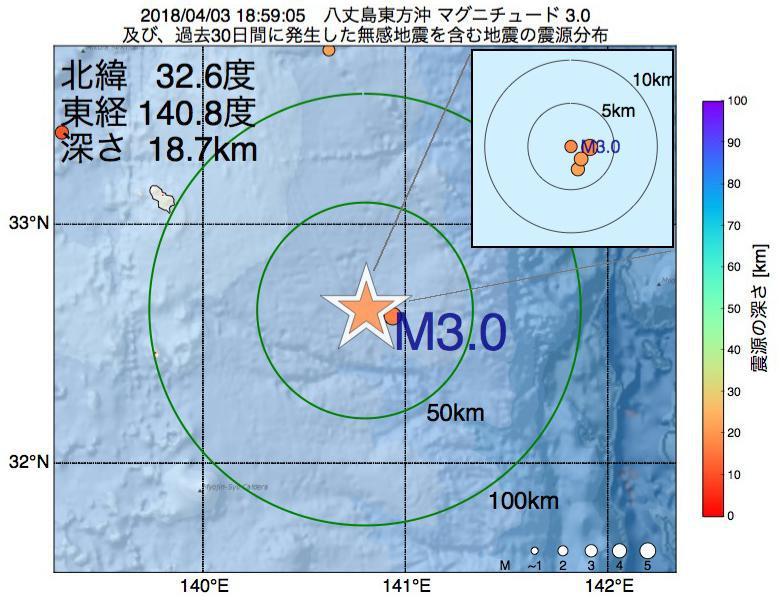 地震震源マップ:2018年04月03日 18時59分 八丈島東方沖でM3.0の地震
