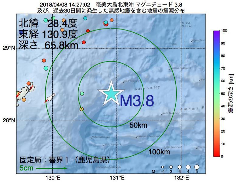 地震震源マップ:2018年04月08日 14時27分 奄美大島北東沖でM3.8の地震