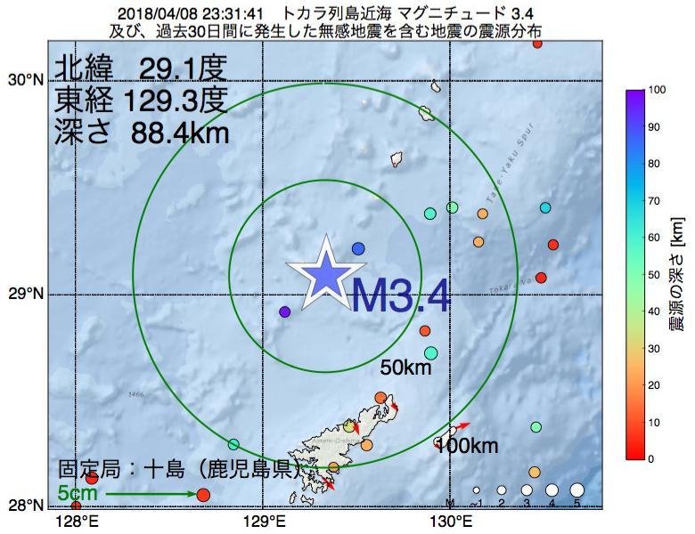 地震震源マップ:2018年04月08日 23時31分 トカラ列島近海でM3.4の地震