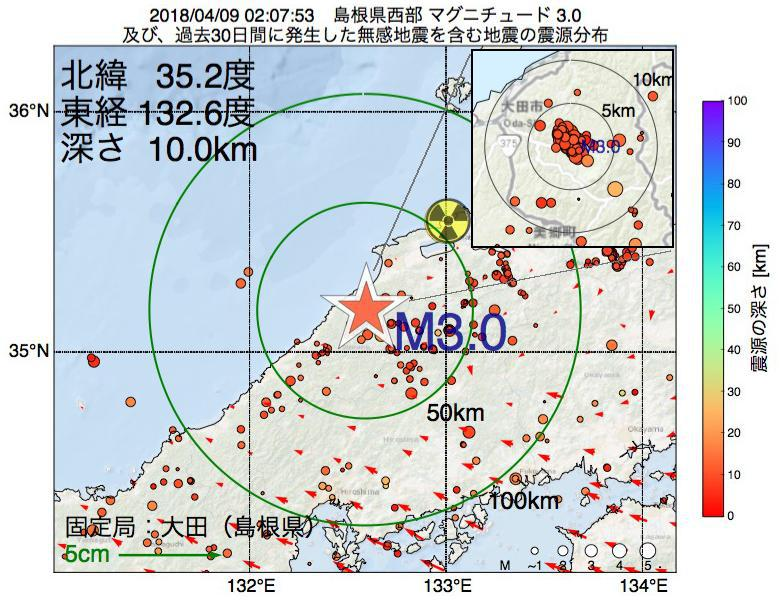 地震震源マップ:2018年04月09日 02時07分 島根県西部でM3.0の地震