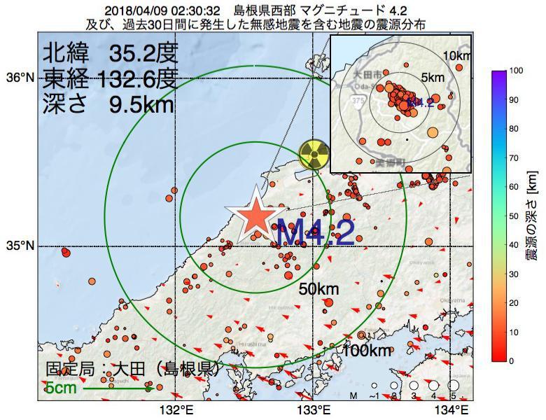 地震震源マップ:2018年04月09日 02時30分 島根県西部でM4.2の地震