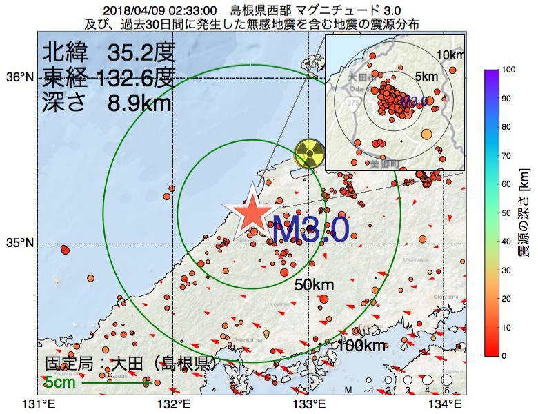 地震震源マップ:2018年04月09日 02時33分 島根県西部でM3.0の地震