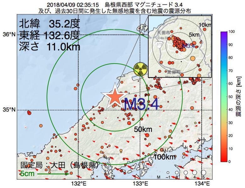 地震震源マップ:2018年04月09日 02時35分 島根県西部でM3.4の地震