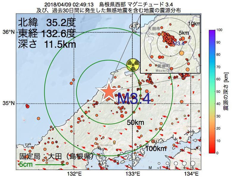地震震源マップ:2018年04月09日 02時49分 島根県西部でM3.4の地震