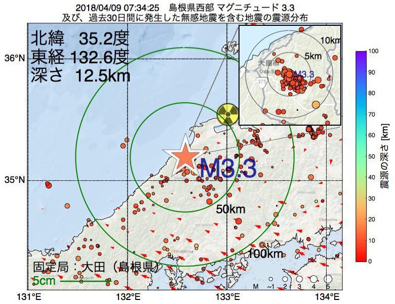 地震震源マップ:2018年04月09日 07時34分 島根県西部でM3.3の地震