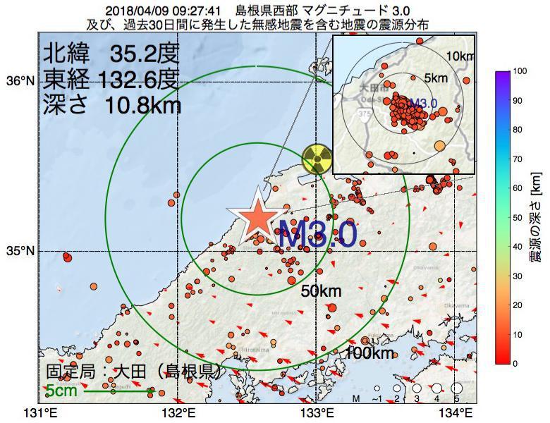 地震震源マップ:2018年04月09日 09時27分 島根県西部でM3.0の地震