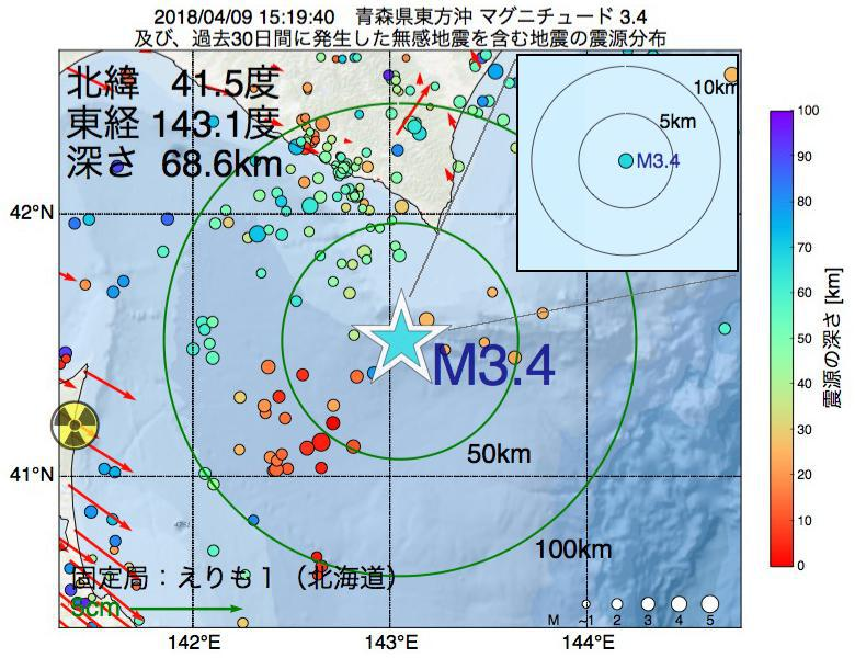 地震震源マップ:2018年04月09日 15時19分 青森県東方沖でM3.4の地震