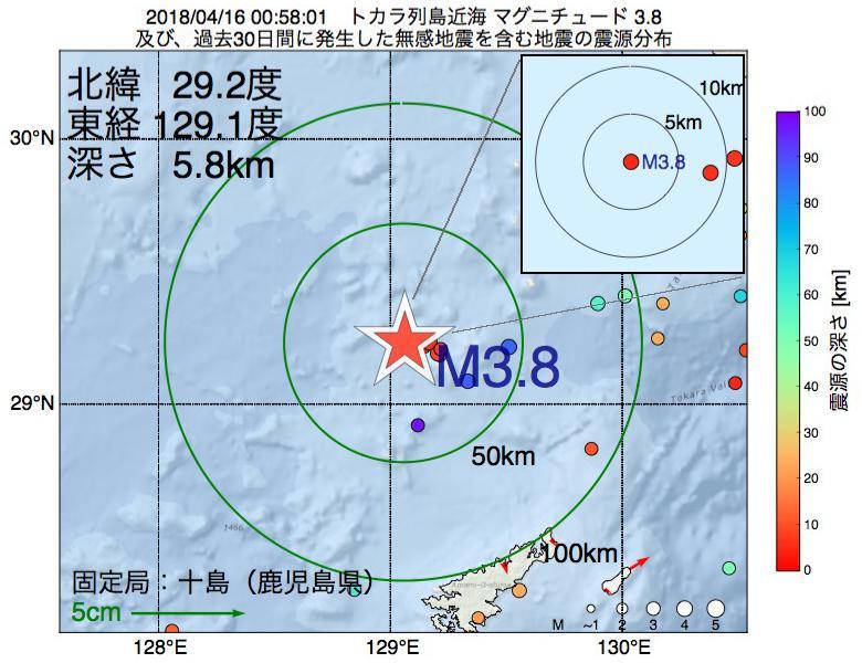 地震震源マップ:2018年04月16日 00時58分 トカラ列島近海でM3.8の地震