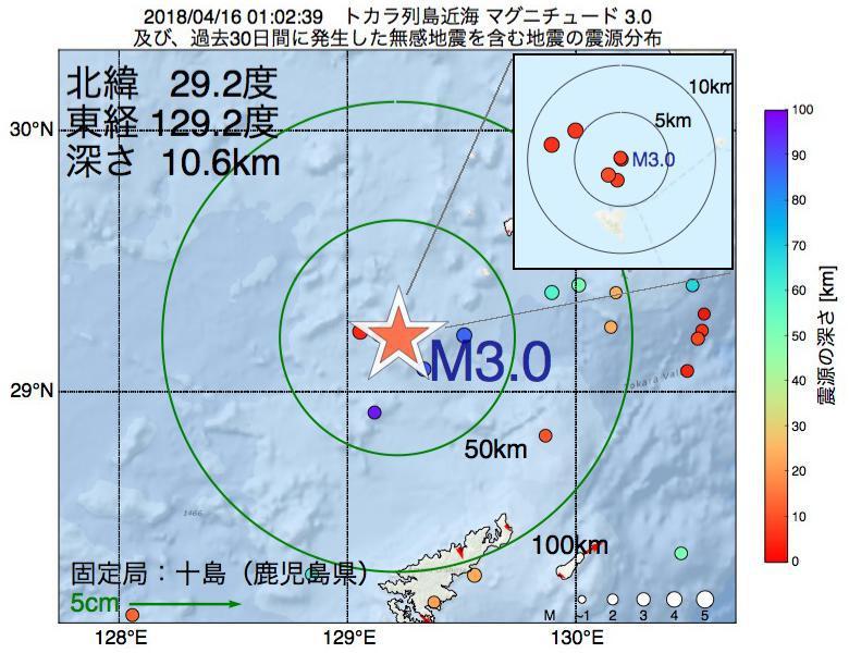 地震震源マップ:2018年04月16日 01時02分 トカラ列島近海でM3.0の地震