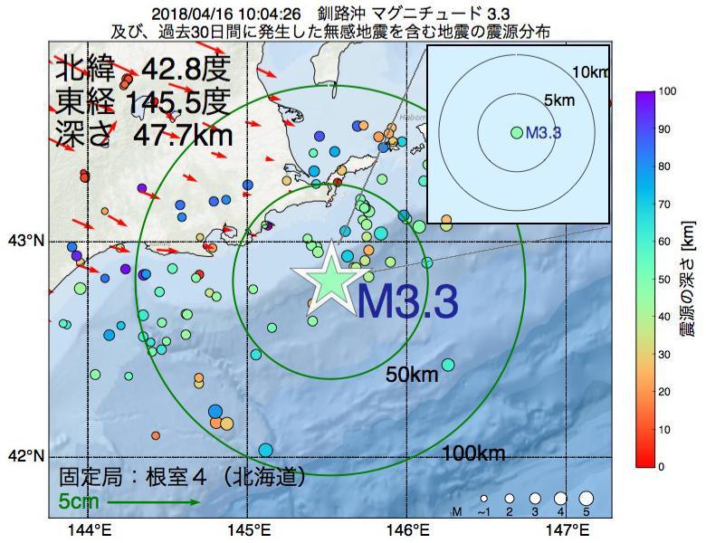 地震震源マップ:2018年04月16日 10時04分 釧路沖でM3.3の地震